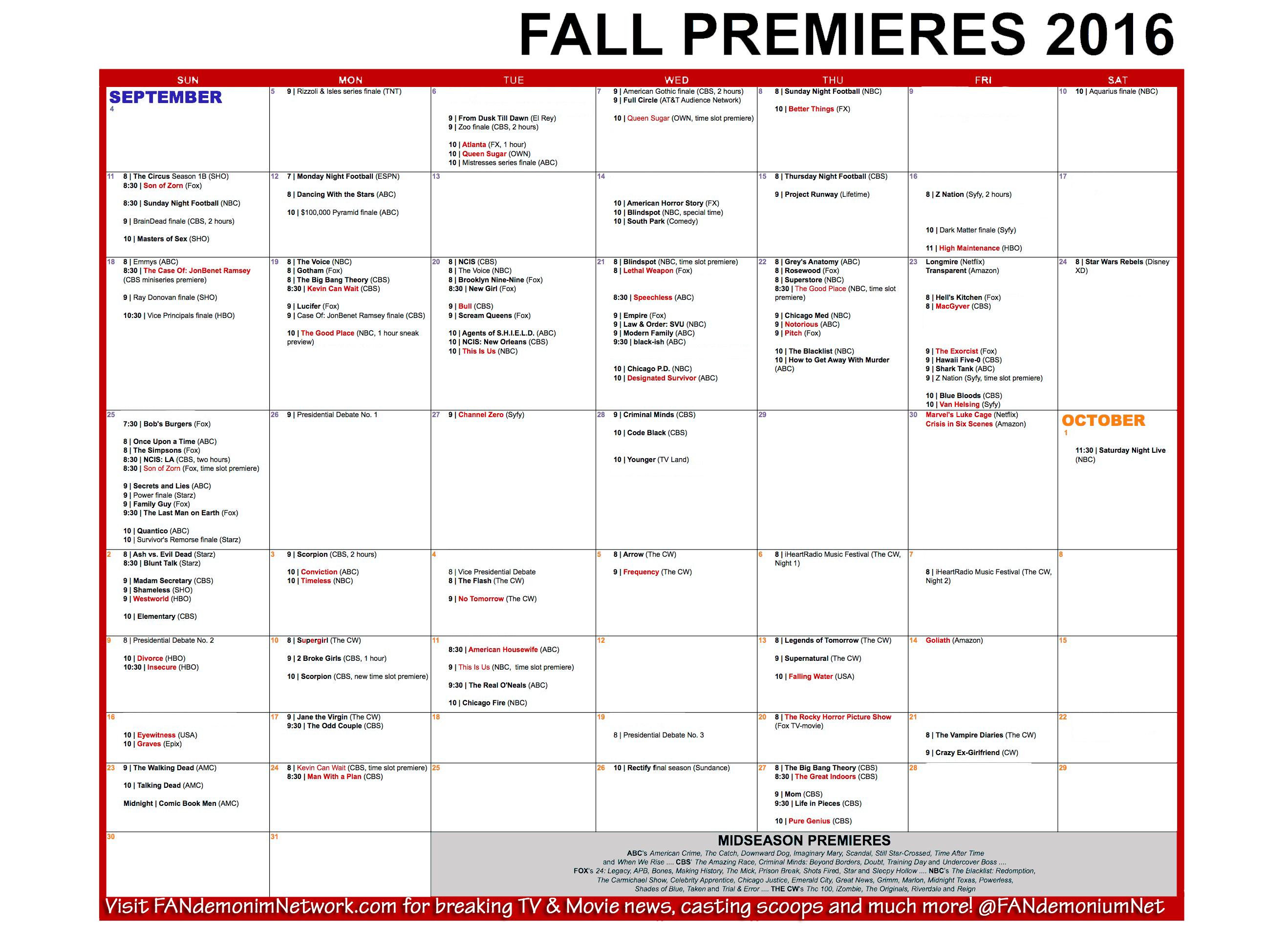 tv schedule fall premieres 2016 - fandemonium network