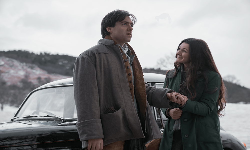 Outlander Episode 7--Down The Rabbit Hole-- Richard Rankin (Roger Wakefield)Iona Claire (Fiona)1000x600